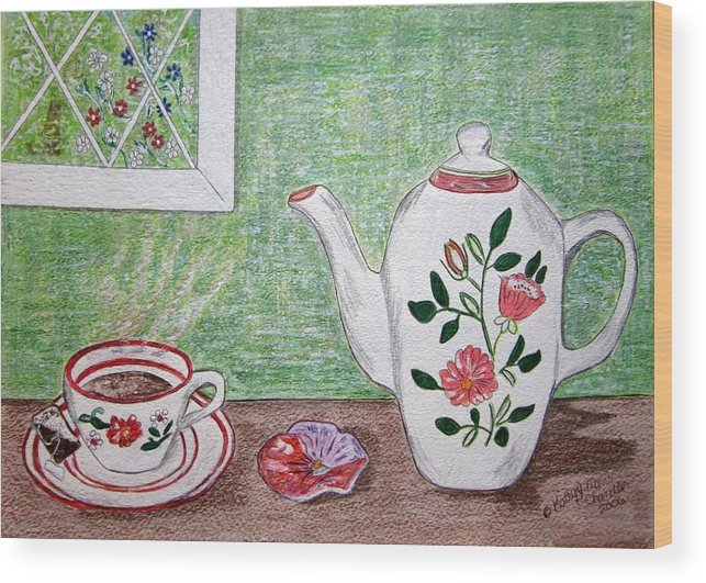Stangl Pottery Wood Print featuring the painting Stangl Pottery Rose Pattern by Kathy Marrs Chandler