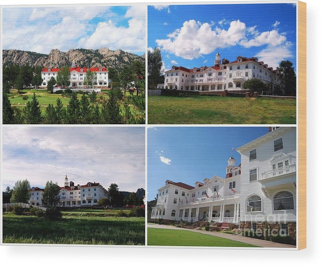 Estes Park Wood Print featuring the photograph Stanley Hotel In Estes Park Colorado Collage by Catherine Sherman