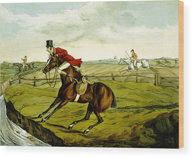 Horse; Hunter; Bay; Rider; Horseback; Refusing; Stream; River; Hunting; Landscape; Clinging To Neck; Jumping; Accident; Frightened; Humorous; Sport; Comical; Humorous Wood Print featuring the painting Stopping At Water From Qualified Horses And Unqualified Riders by Henry Thomas Alken