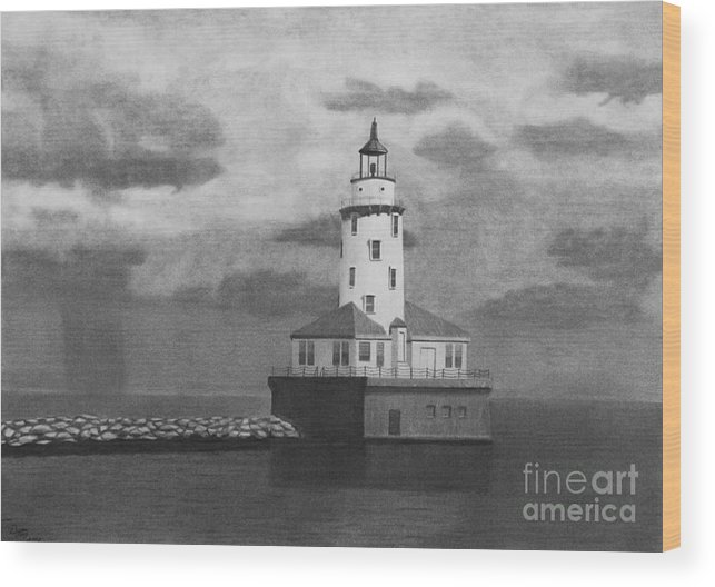 Light House Wood Print featuring the drawing Storms Come And Go. by Byron Moss