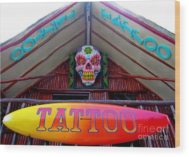Tattoo Sign Wood Print featuring the photograph Tattoo Sign by John Malone