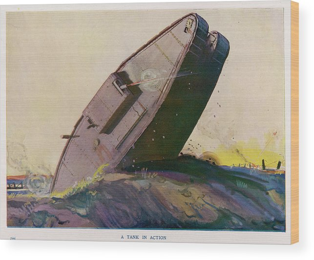 Tank Wood Print featuring the drawing The Ability Of The Tank To Proceed by Mary Evans Picture Library