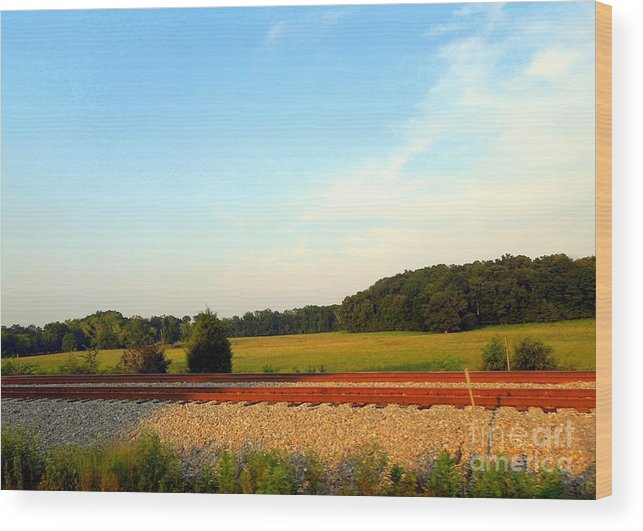 Railroad Wood Print featuring the photograph The Other Side Of The Tracks by Renee Trenholm