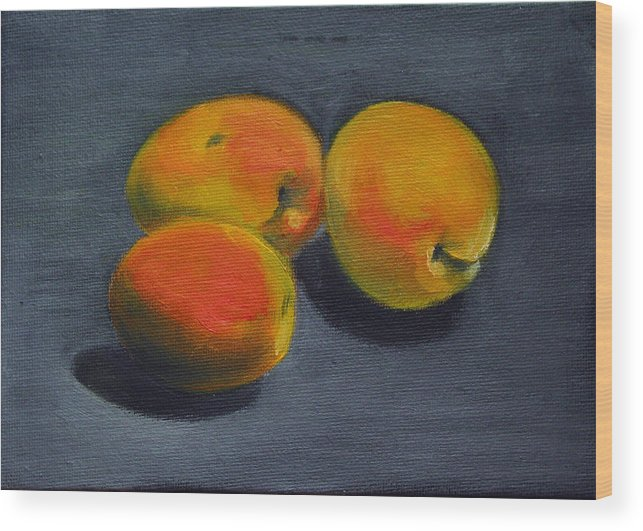 Food Wood Print featuring the painting Three Apricots by Sarah Lynch