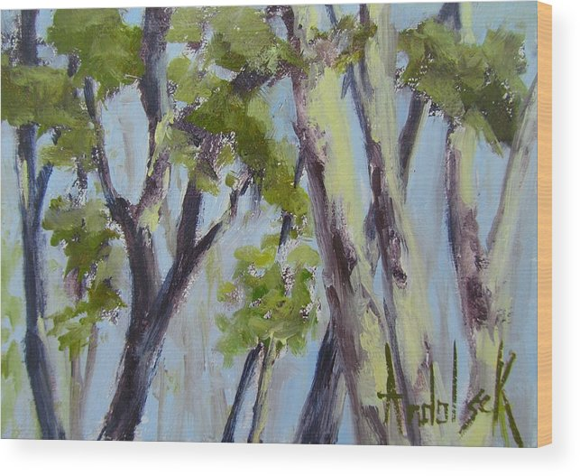 Trees Wood Print featuring the painting Tree Canopy by Barbara Andolsek