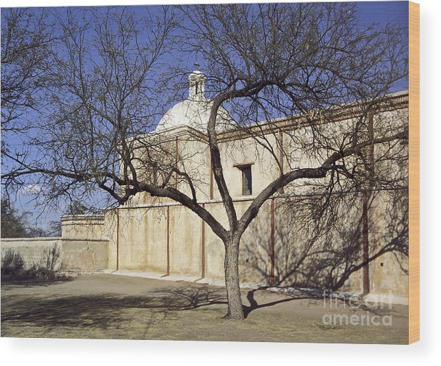 Mission Wood Print featuring the photograph Tumacacori With Tree by Kathy McClure