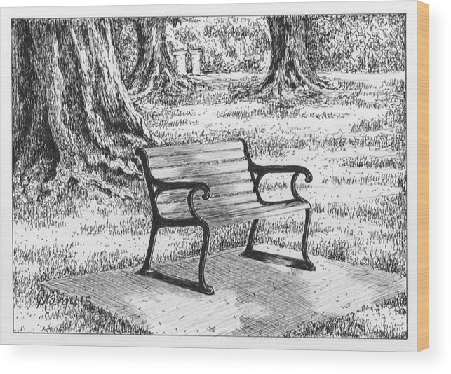 Bench Wood Print featuring the drawing Under The Oaks by Colleen Marquis
