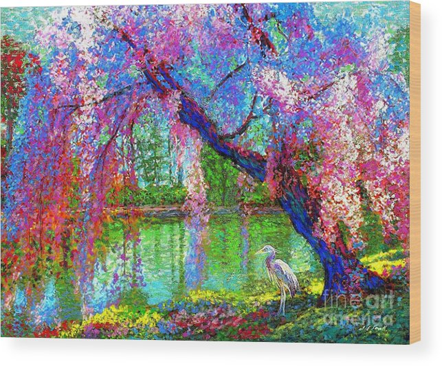 Spring Wood Print featuring the painting Weeping Beauty, Cherry Blossom Tree And Heron by Jane Small