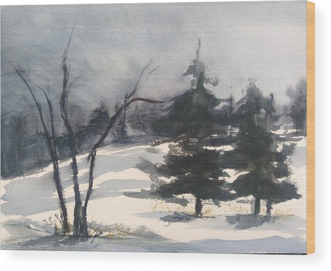 Landscape Wood Print featuring the painting Winter Grey by Pat Steiner