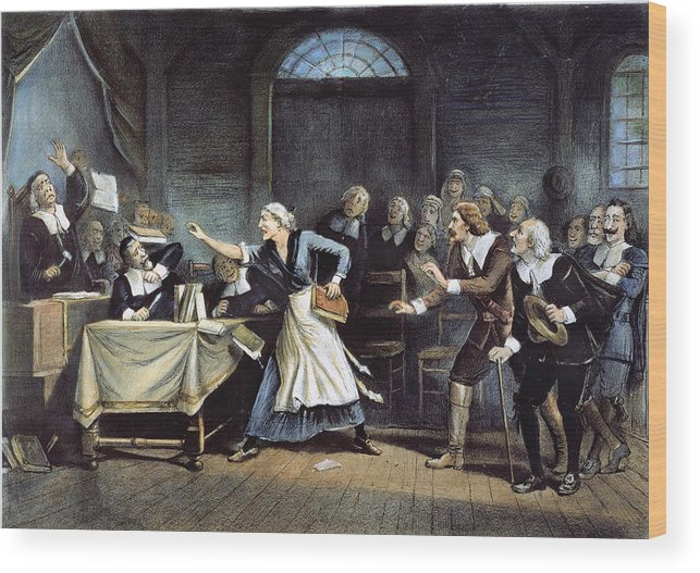 1692 Wood Print featuring the painting Witch Trial by Granger