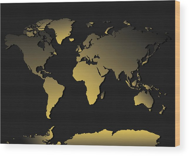Map Of The World Wood Print featuring the painting World Map Gradient by Bekim Art
