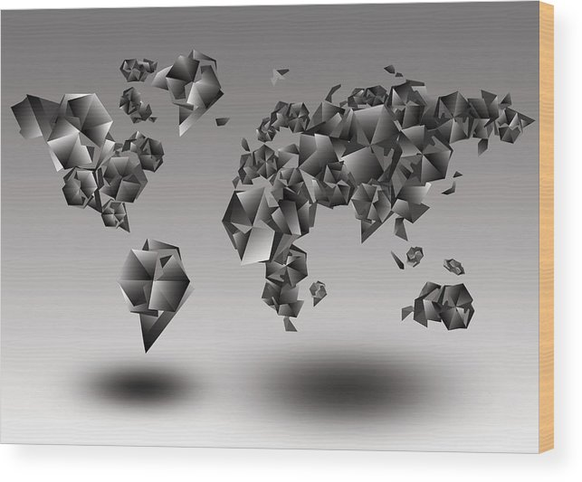 Map Of The World Wood Print featuring the painting World Map In Geometic Gray by Bekim Art