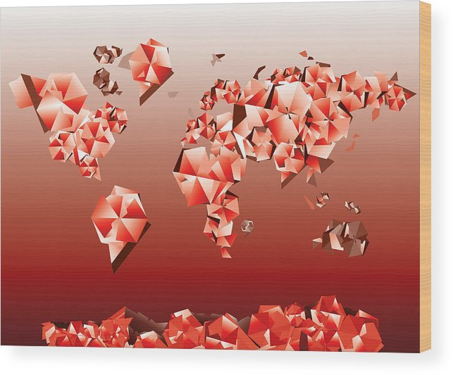 Map Of The World Wood Print featuring the painting World Map In Geometric Red by Bekim Art