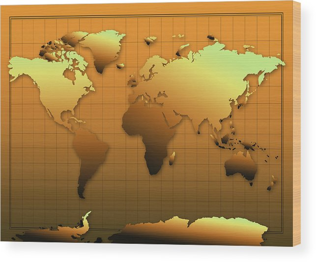 Map Of The World Wood Print featuring the painting World Map In Gold by Bekim Art