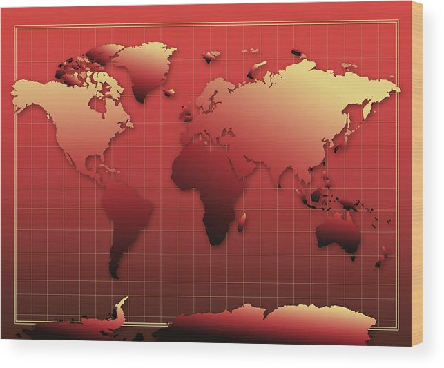 Map Of The World Wood Print featuring the painting World Map In Red by Bekim Art