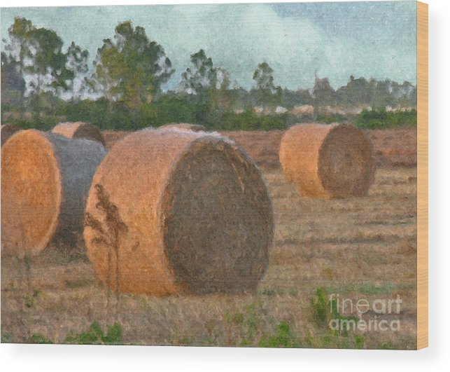 Gold Wood Print featuring the digital art A Roll In The Hay by Peggy Starks