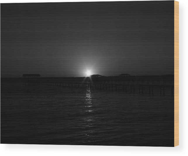 Sunset Wood Print featuring the photograph Black And White Sunset by Rod Andress