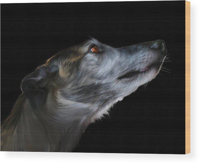 Greyhound Wood Print featuring the digital art Born For The Run by Julie L Hoddinott
