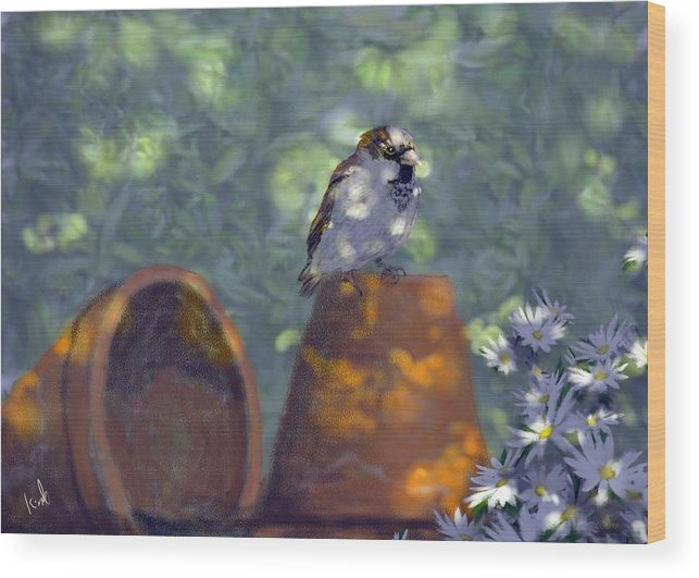 Garden Wood Print featuring the digital art Clay Pot Sparrow by Barb Kirpluk