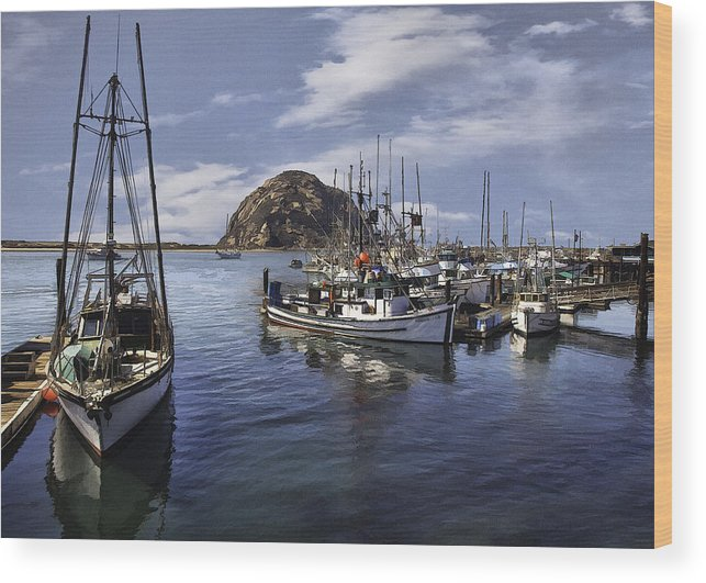 Boat Wood Print featuring the digital art Colorful Morro Harbor by Sharon Foster