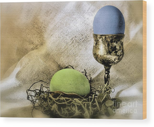 Green And Blue Easter Eggs Wood Print featuring the photograph Easter With Patina 6 by Danuta Bennett
