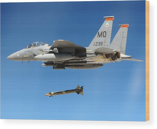 History Wood Print featuring the photograph F-15 Strike Eagle Fighter Drops by Everett