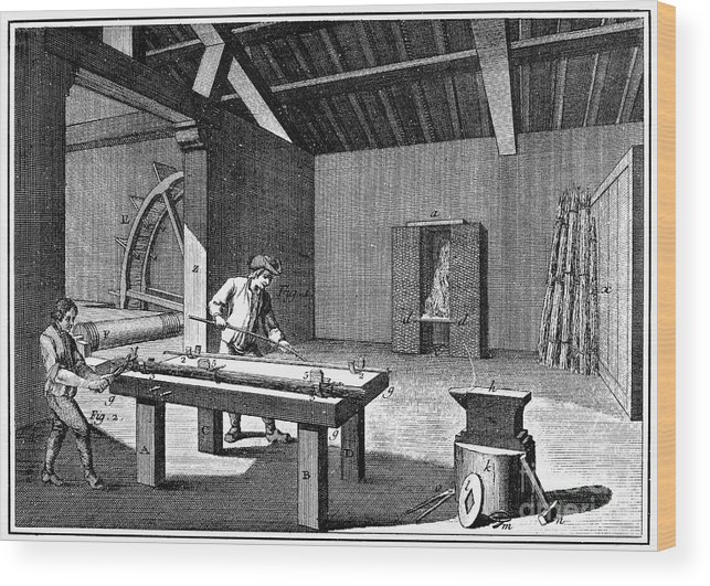 1750 Wood Print featuring the photograph France: Iron Mill, C1750 by Granger