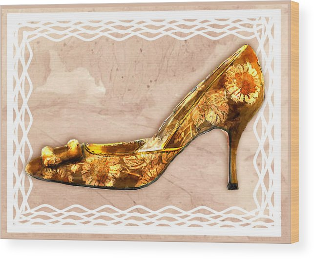 Shoes Heels Pumps Fashion Designer Feet Foot Shoe Stilettos Painting Paintings Illustration Illustrations Sketch Sketches Drawing Drawings Pump Stiletto Fetish Designer Fashion Boot Boots Footwear Sandal Sandals High+heels High+heel Women's+shoes Graphic Sophisticated Elegant Modern Wood Print featuring the painting Golden Floral Royalty Shoe by Elaine Plesser