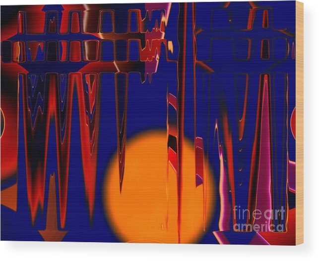 Moon.abstract Wood Print featuring the digital art Harvest Moon by Tom Hubbard