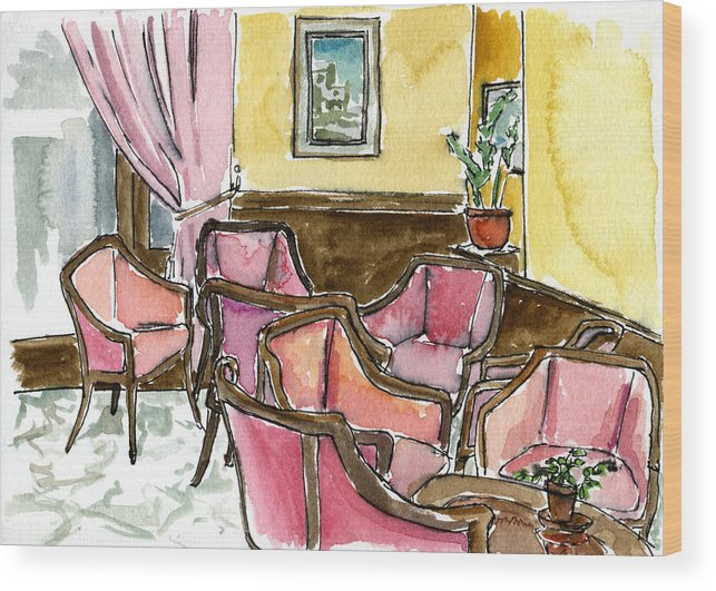 Interior Wood Print featuring the painting Hotel Ascot Lounge by Megan Little