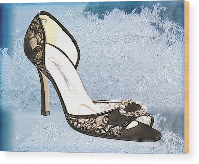 Shoes Heels Pumps Fashion Designer Feet Foot Shoe Wood Print featuring the painting Ice Princess Lace Pumps by Elaine Plesser