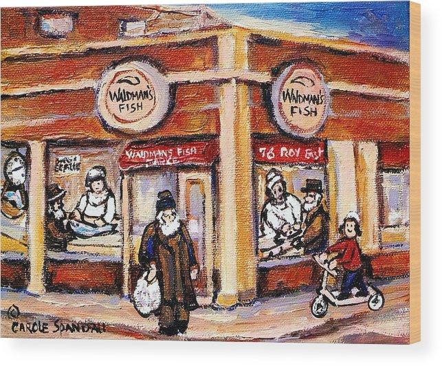 Jewish Montreal Art Wood Print featuring the painting Jewish Montreal Vintage City Scenes Fish Market On Roy Street by Carole Spandau