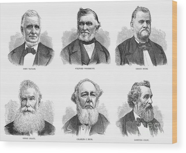 1877 Wood Print featuring the photograph Mormon Apostles, 1877 by Granger