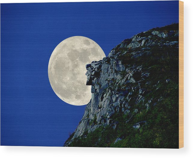 Old Man Wood Print featuring the photograph Old Man Meets The Man In The Moon by Larry Landolfi
