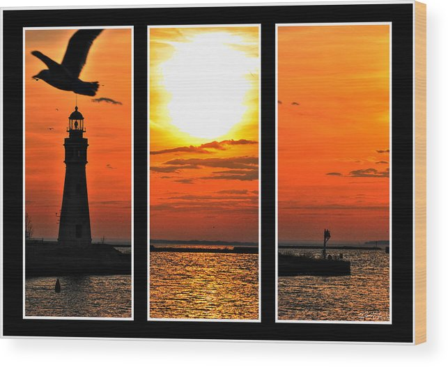 Wood Print featuring the photograph Peaceful Sunset Triptych Series by Michael Frank Jr
