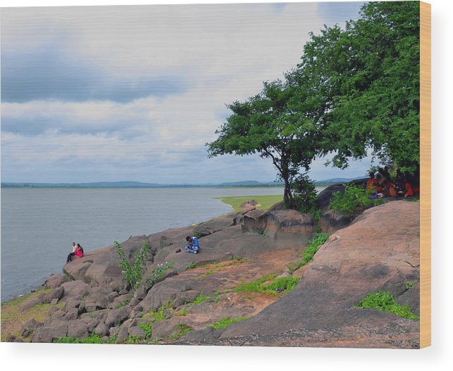 Lake Mountains Trees Stones Rock Couple Child Family Grass Clouds Wood Print featuring the photograph Pick Nick by Johnson Moya