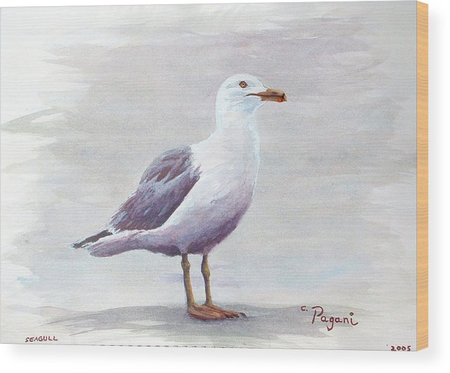 Seagull Wood Print featuring the painting Seagull by Chriss Pagani