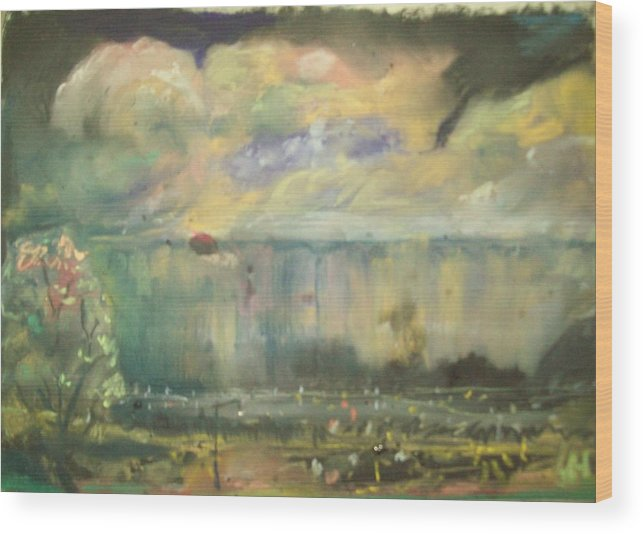 Storms In Omaha Nebraska Wood Print featuring the pastel Tor Con by Heath Draney