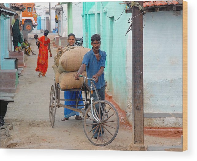 Houses Ghani Bags Man Women Child Lorry Wheels Cycle Cart Orange Red Blue Black Green Emerald Green White Street Brown Wood Print featuring the photograph Village Street by Johnson Moya