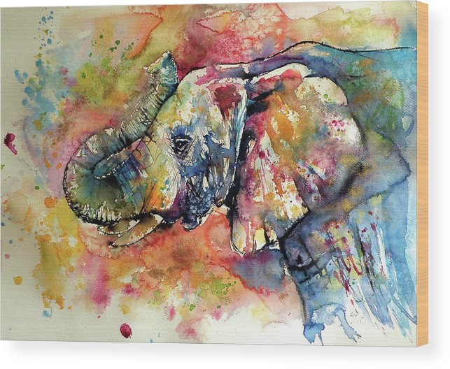 Elephant Wood Print featuring the painting Big Colorful Elephant by Kovacs Anna Brigitta
