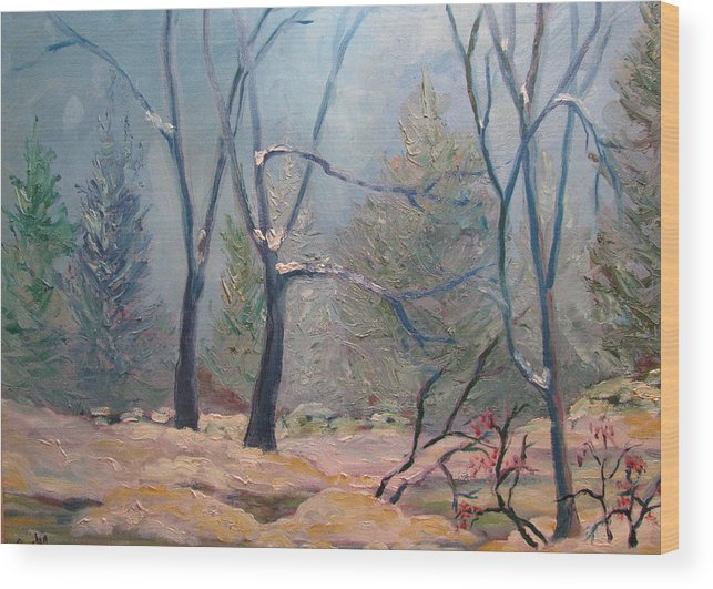 Forest Wood Print featuring the painting Forest At Twilight by Belinda Consten