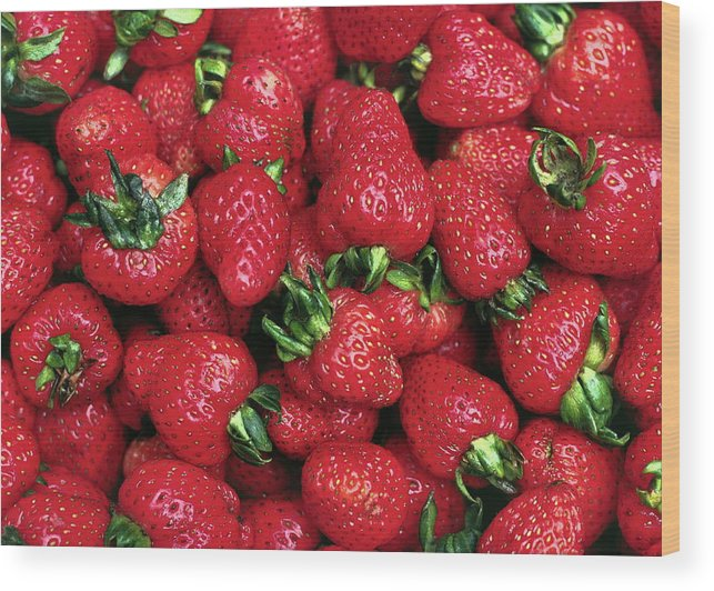 Fresh Strawberries Wood Print featuring the photograph Fresh Strawberries by Sally Weigand