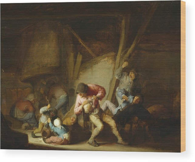 Adriaen Jansz Hendricx Wood Print featuring the painting Interior With Drinking Figures And Crying Children by Adriaen van Ostade