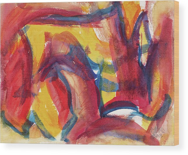 Red Abstract Painting Wood Print featuring the painting Red Abstract Painting by Zhong Ling