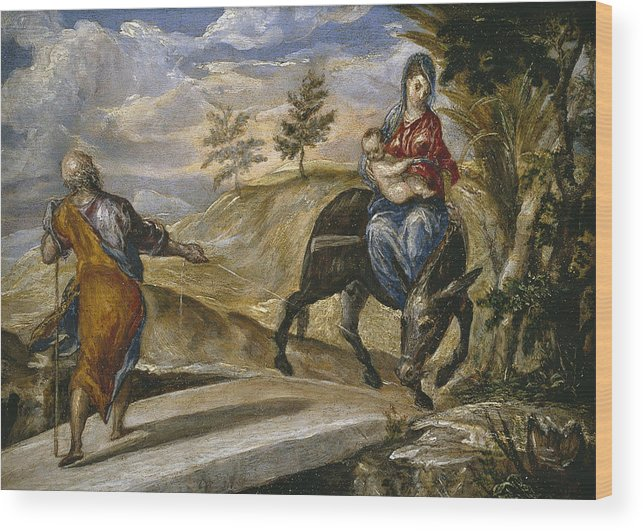 Blessed Virgin Mary Wood Print featuring the painting The Flight Into Egypt by El Greco