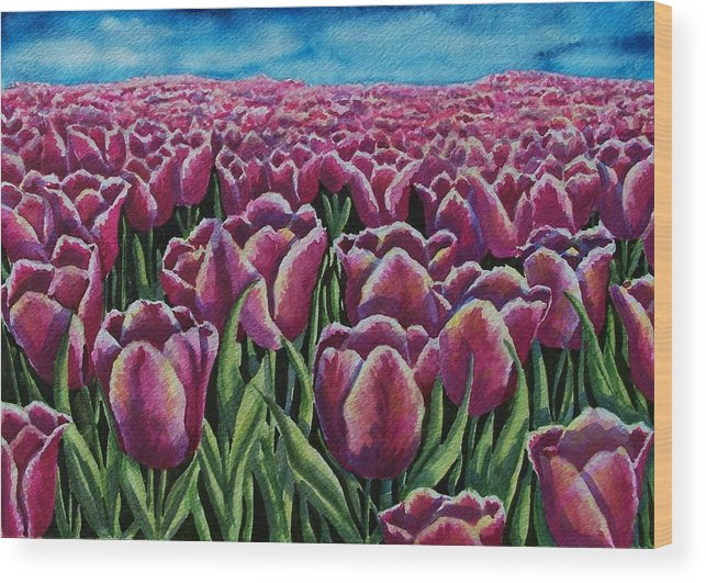 Tulips Wood Print featuring the painting 1000 Tulpis by Conni Reinecke