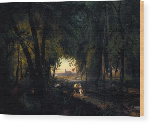 Painting Wood Print featuring the painting Forest Path Near Spandau by Carl Blechen
