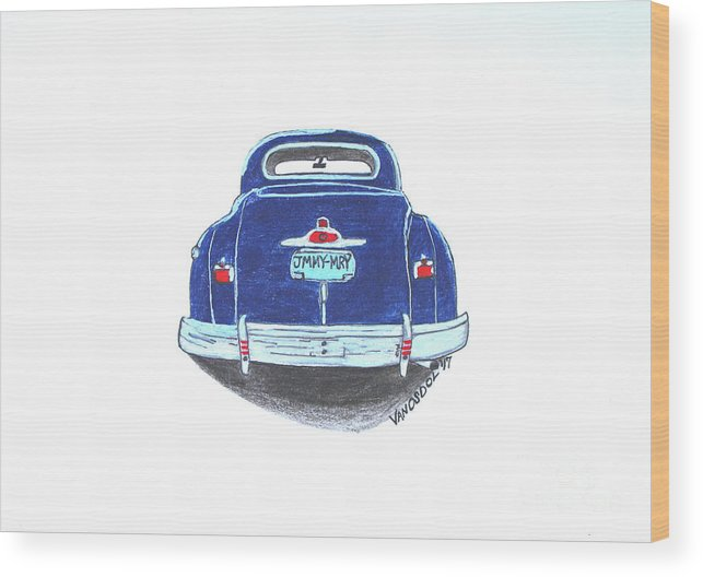 1947 Wood Print featuring the drawing 1947 Dodge Club Coupe Rear View by Scott D Van Osdol