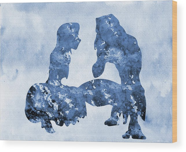 Tarzan And Jane Wood Print featuring the digital art Jane And Tarzan-blue by Erzebet S