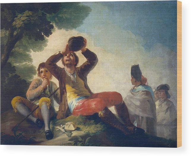 Child Wood Print featuring the painting The Drinker by Francisco Goya